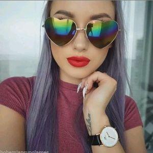 All black rainbow mirror heart shades
